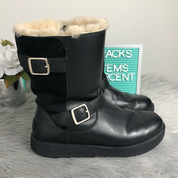2af06b05ecf UGG Breida Leather Black Waterproof Boots Size 10